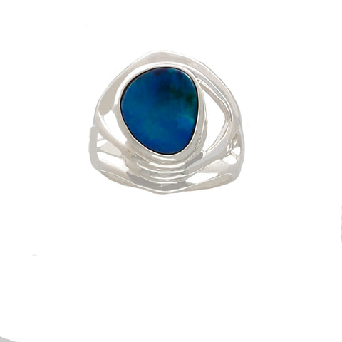 Blue Opal in Sterling Silver Ring (blue fire) - Finesse Jewelry