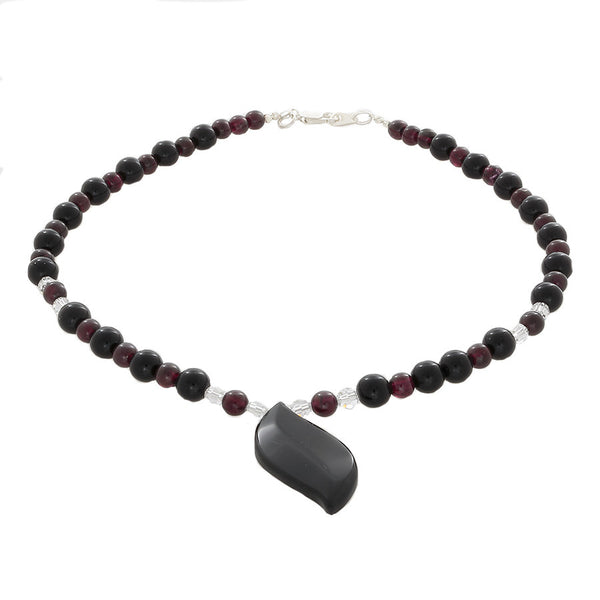 Garnet, Black Onyx & Clear Quartz beads with Onyx leaf pendant Necklace - Finesse Jewelry
