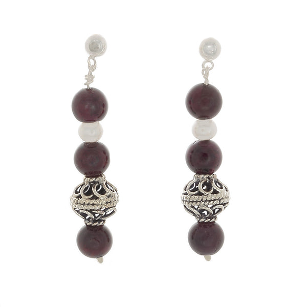 Garnet with pearl and silver beads Post earrings
