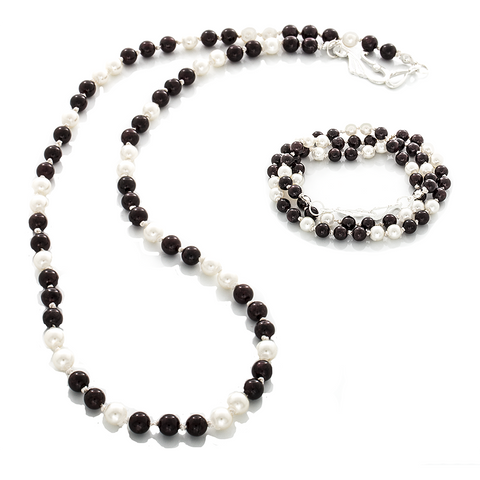 Garnet and Pearl Wrap Necklace - Bracelet with hand-knots