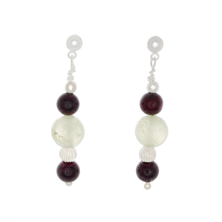Garnet & prehenite with Silver Beaded Earrings - Finesse Jewelry