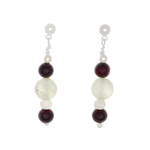 Garnet & prehnite with Silver Beaded Earrings - Finesse Jewelry