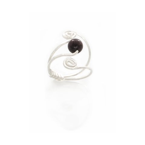 Garnet Solitaire Swirl Adjustable Ring