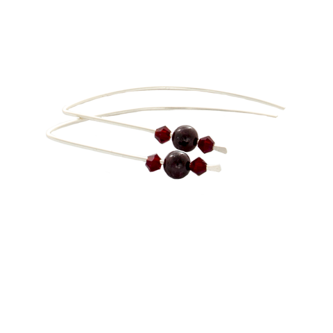 Garnet Slipper Earrings - Finesse Jewelry