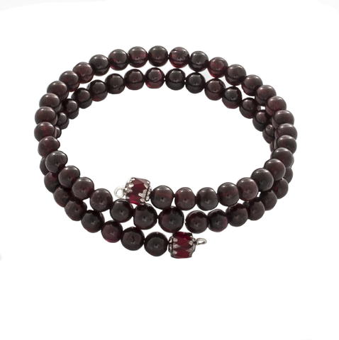 Garnet Beaded Wrap Bracelet - Finesse Jewelry