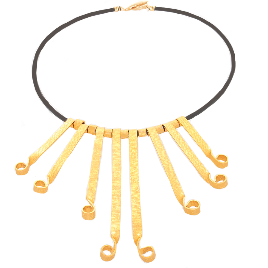 Gold-tone Flair Statement Necklace - Finesse Jewelry
