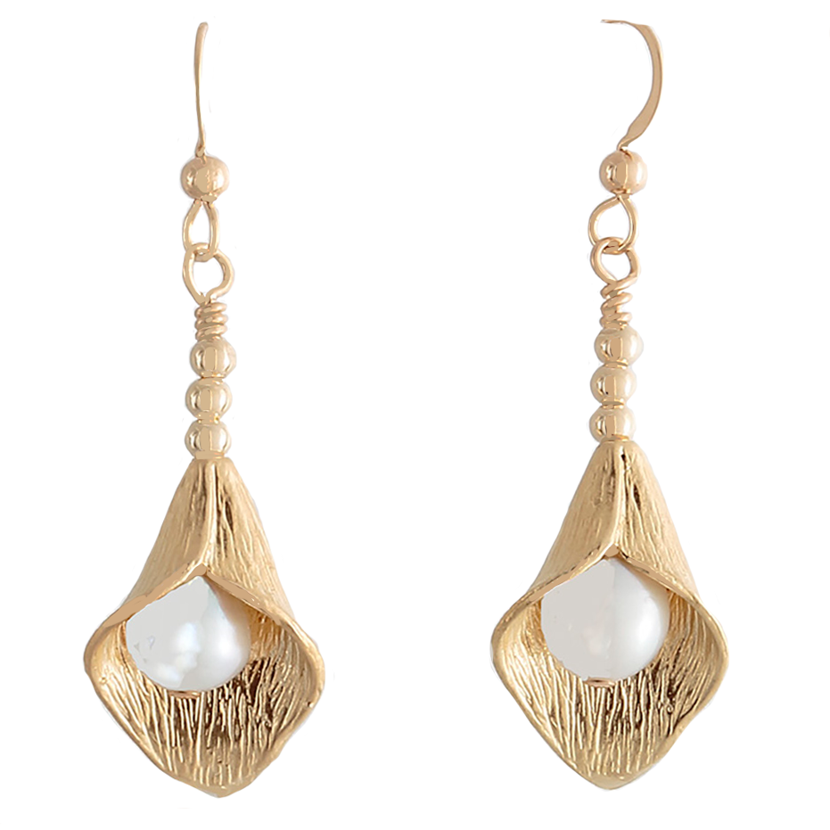 Gold petal with Pearl French wire Earrings - Finesse Jewelry