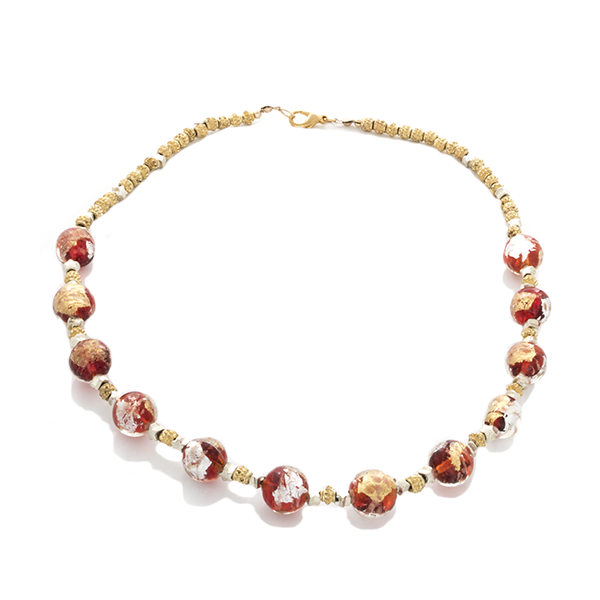 Gold & Silver Blown Glass beaded Necklace - Finesse Jewelry