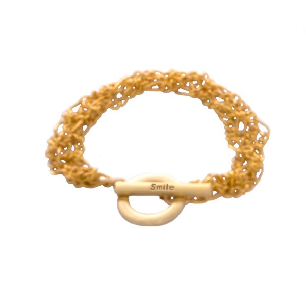 Flirty Gold-Toned Fashion Bracelet with Toggle Clasp Stamped SMILE - Finesse Jewelry