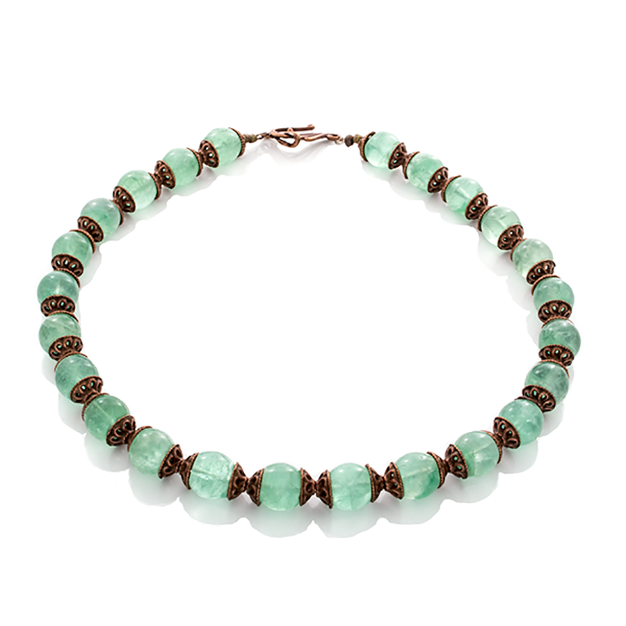 Green Agate Dreams with Antique Copper Necklace