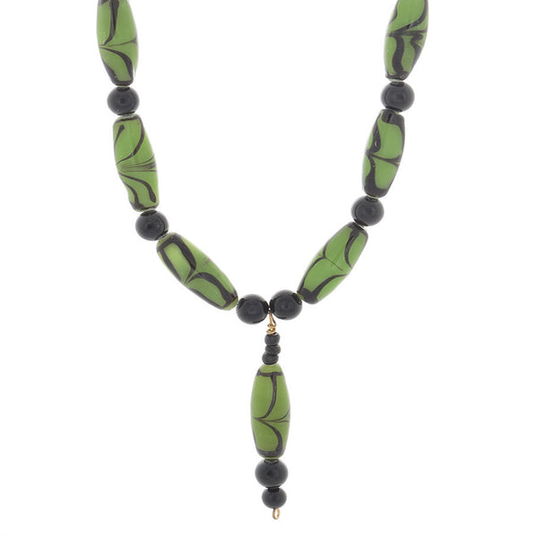 African Green with black glass beads spaced with obsian beaded Necklace - Finesse Jewelry