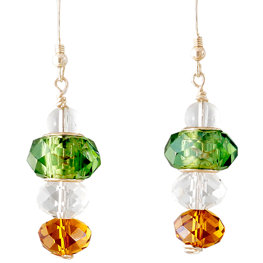 Green, Amber & Clear Crystal drop Earrings on Sterling French Ear Wires - Finesse Jewelry