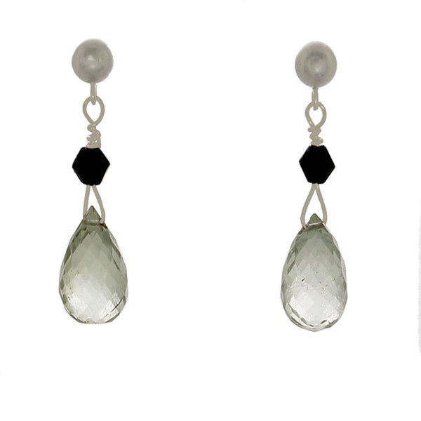 Prasiolite and Black Onyx Post Sterling Earrings