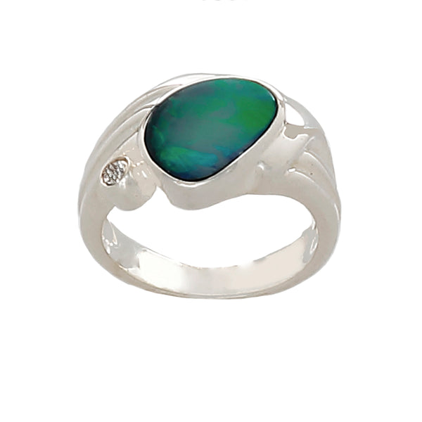 Blue Opal in Sterling Silver (green fire) - Finesse Jewelry