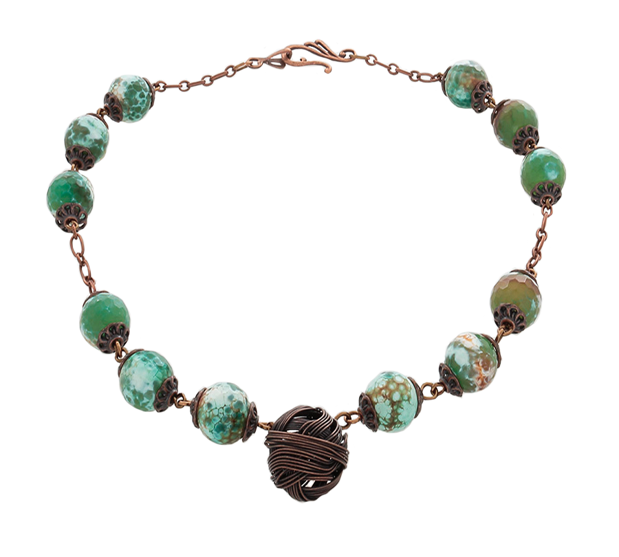 Green Jasper Necklace with copper ball as focal element - Finesse Jewelry