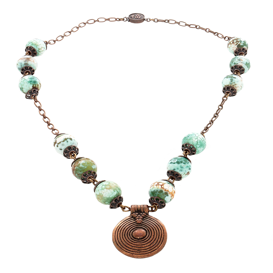 Green Jasper & copper Necklace with copper spiral Pendant - Finesse Jewelry
