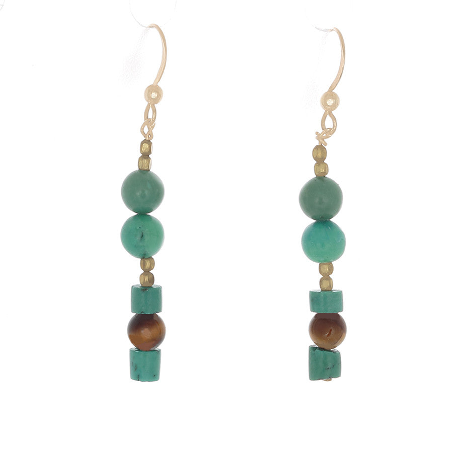 Green Turquoise, Tiger's Eye & Brass beaded Earrings - Finesse Jewelry