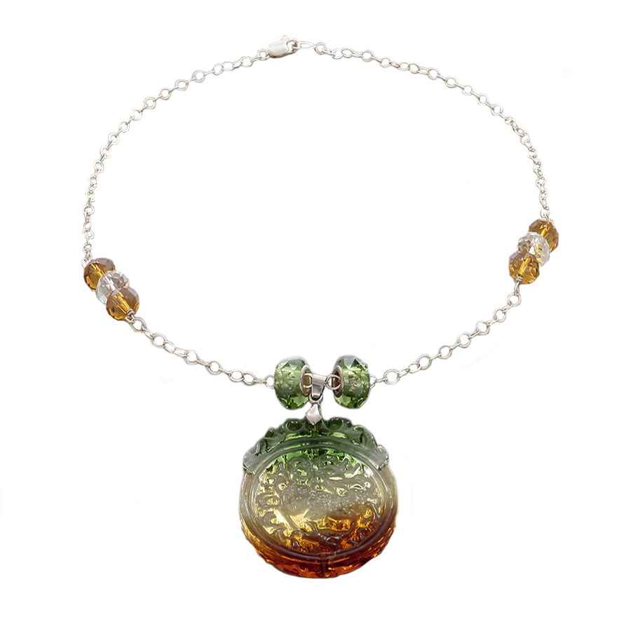 Green, Amber & Clear Crystal Pendant Necklace on Sterling Silver chain - Finesse Jewelry