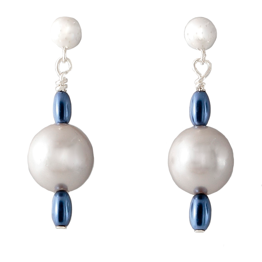 Grey with Blue Pearl on Sterling Silver Post Earrings - Finesse Jewelry