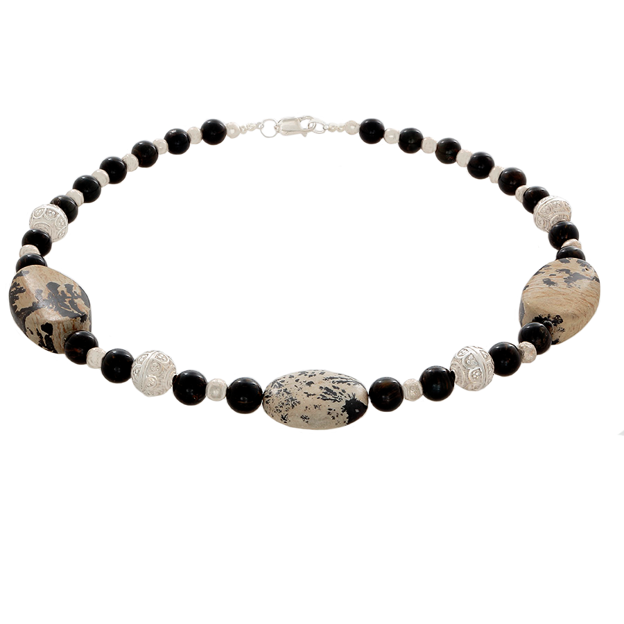 Grey Jasper and Blue Tiger's Eye Beaded Necklace with Sterling Silver - Finesse Jewelry