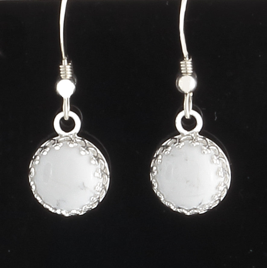 White Howlite Bezel Set Earrings in sterling - Finesse Jewelry