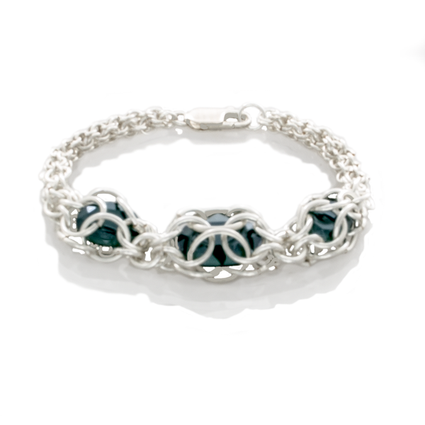 Chain Maille 2-1 Captured Emerald Crystal Bracelet - Finesse Jewelry