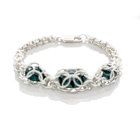 Chain Maille 2-1 Captured Emerald Crystal Bracelet