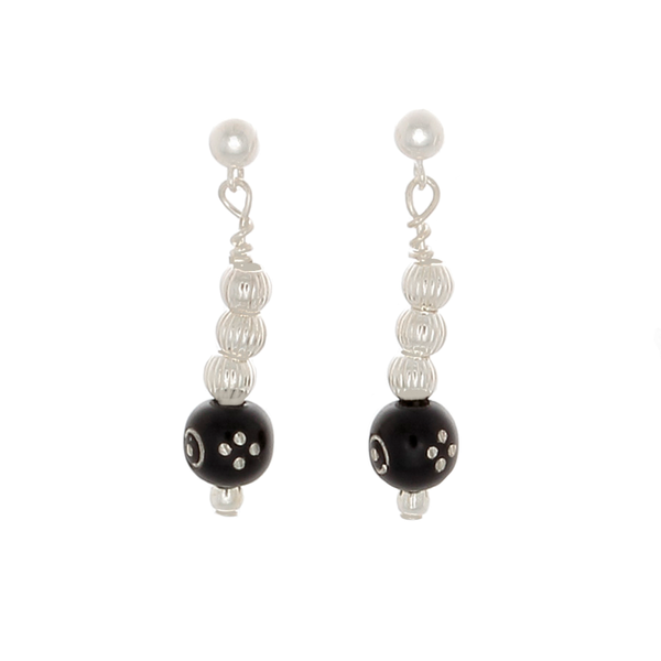 Black Coral Inlaid with silver & silver beaded Earrings - Finesse Jewelry