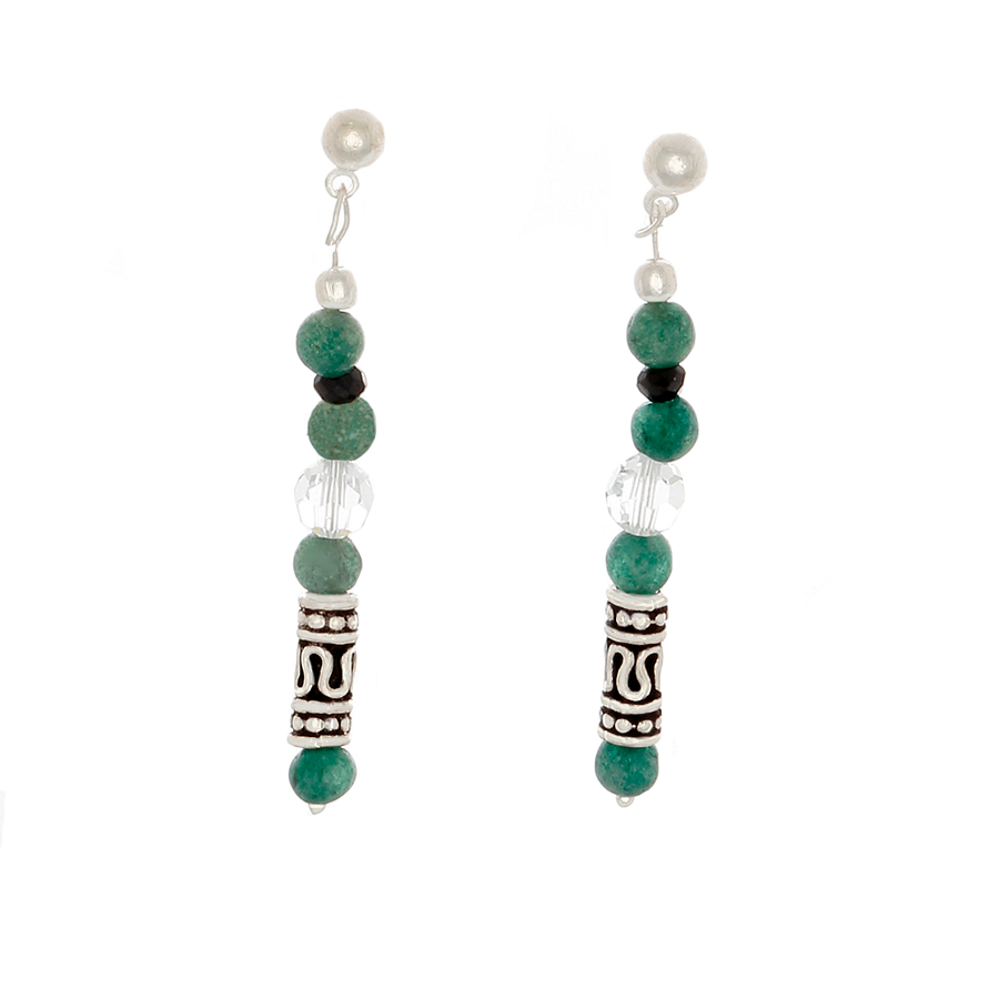 Green Jade, Crystal, Black Sapphire & Sterling Silver Post Earrings - Finesse Jewelry