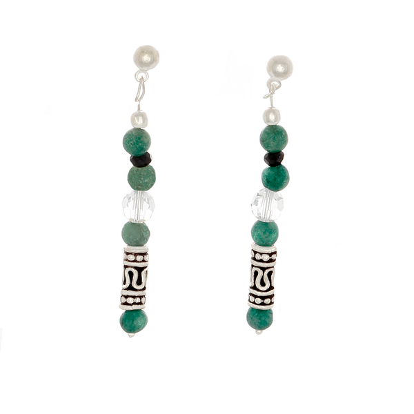 Green Jade, Crystal, Black Sapphire & Sterling Silver Post Earrings