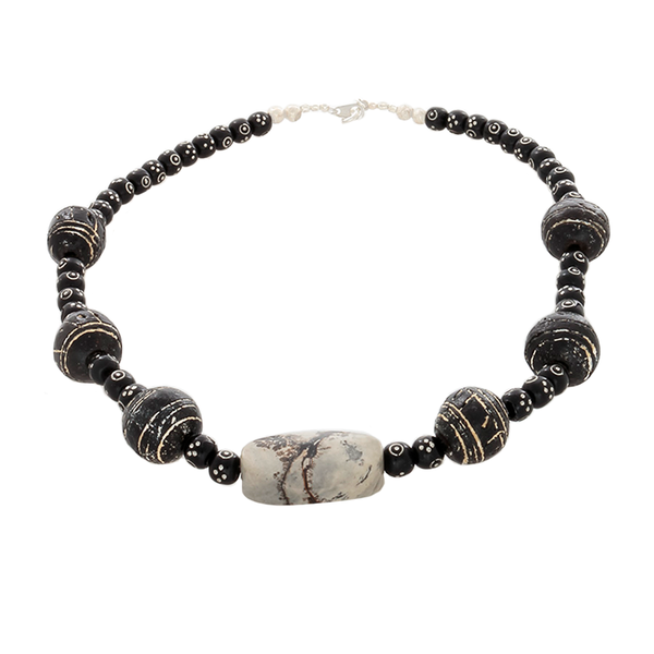 Jasper, Black Clay beads & Black coral silver inlaid beaded necklace - Finesse Jewelry