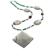 Grey Jasper, Green Jade, Black Sapphire, Amber and silver Necklace - Finesse Jewelry