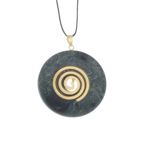 Kambala Jasper Donut Pendant necklace with a black leather adjustable cord - Finesse Jewelry