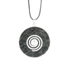 Kambala Jasper Donut Pendant necklace with a black leather adjustable cord
