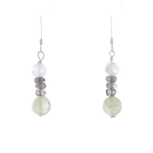 Labordorite, Moonstone, & prehenite French Hook Earrings - Finesse Jewelry