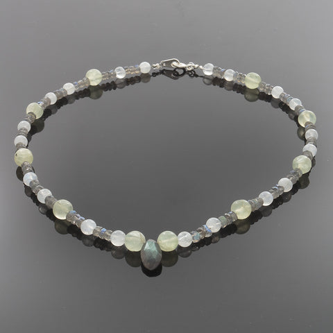 Labordorite, Moonstone & Prehenite Necklace with Sterling Silver Clasp - Finesse Jewelry