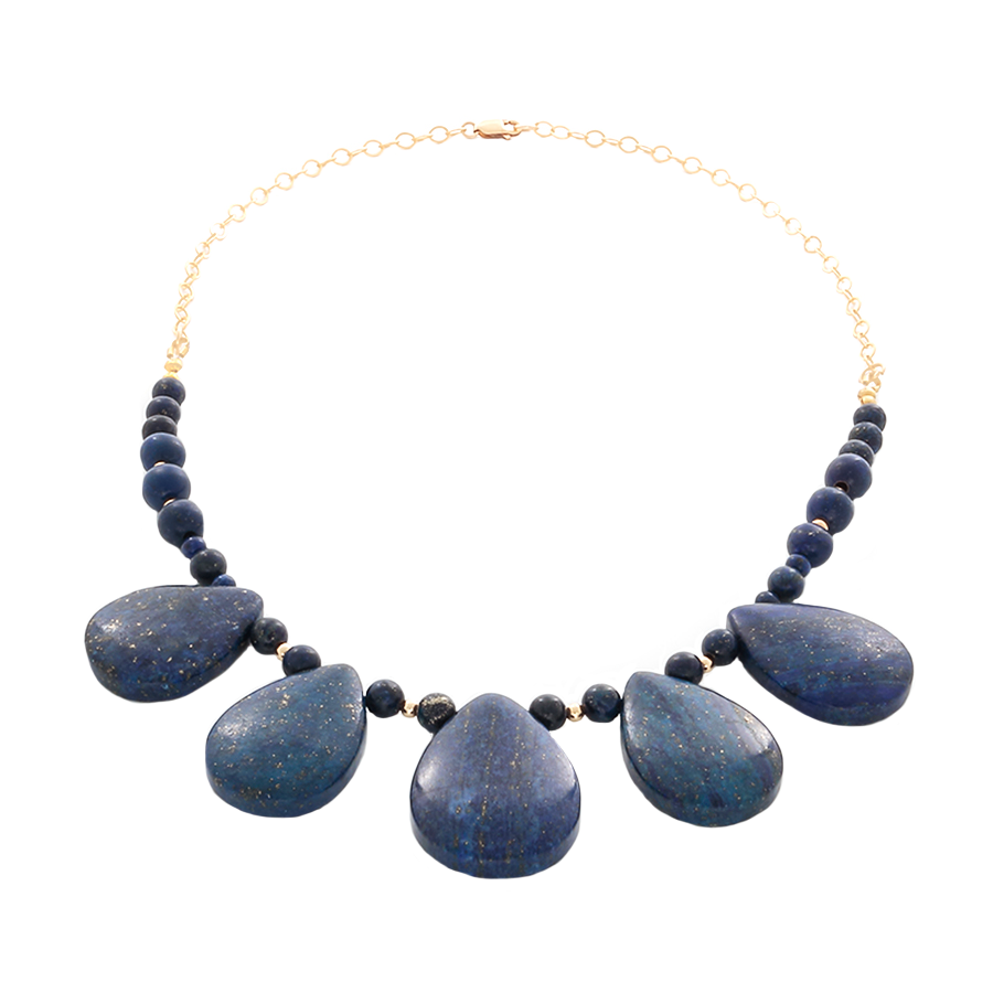 Lapis Lazuli Teardrop pendant Necklace in Gold - Finesse Jewelry