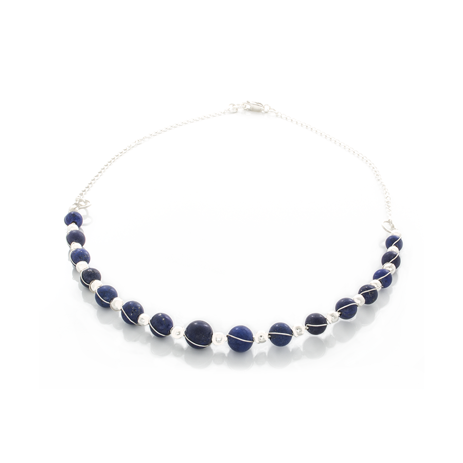 Lapis Lazuli Beads Wrapped in Sterling Silver on a Curved silver bar