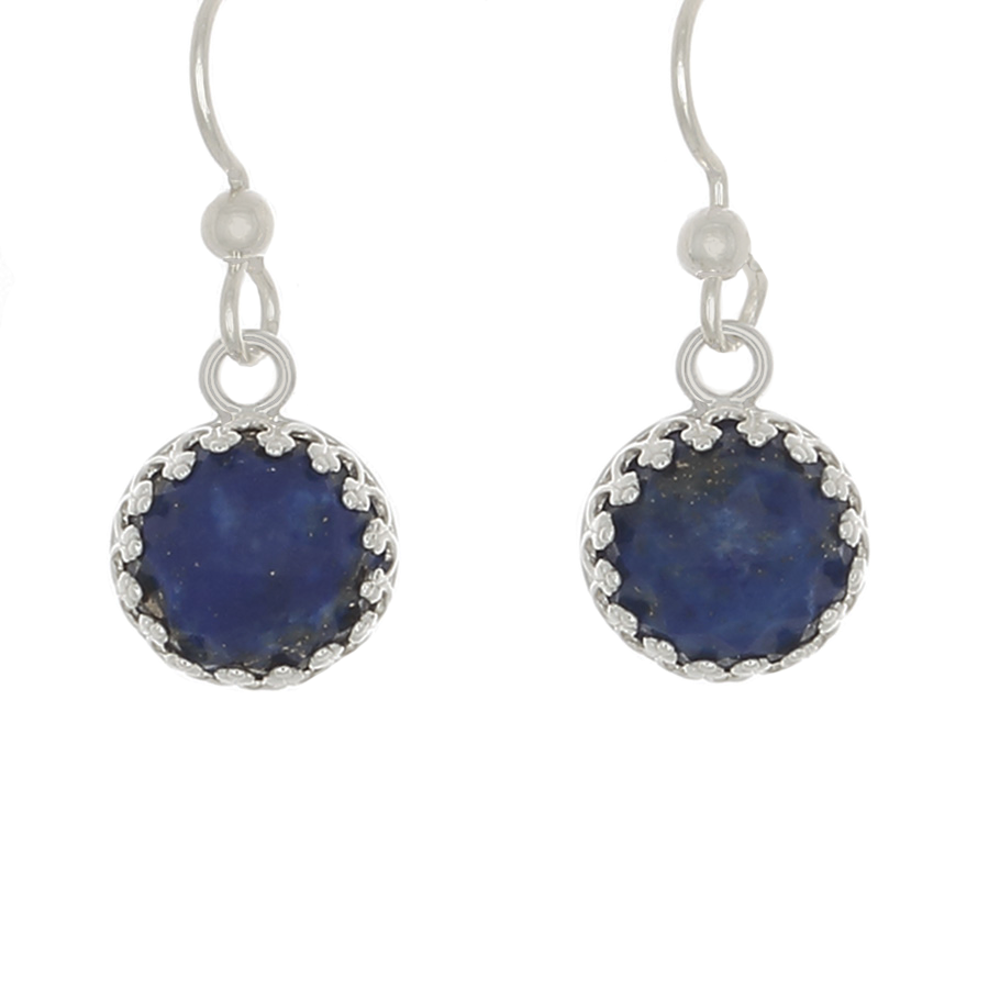 Lapis round Earrings set in sterling Silver on French Hooks - Finesse Jewelry