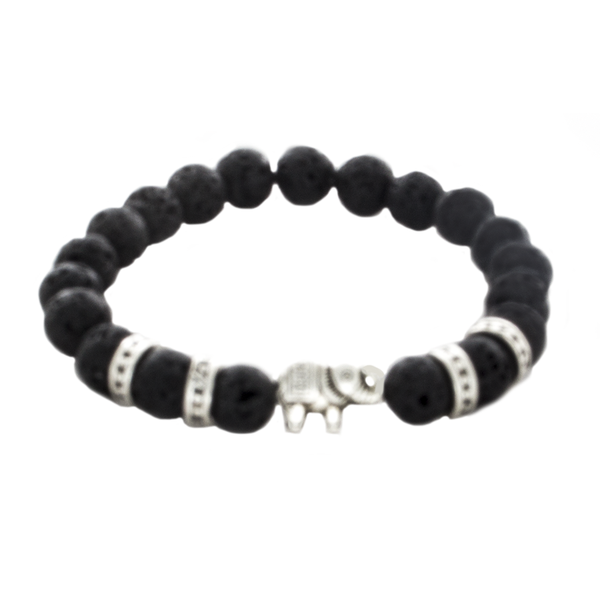 Lava , Elephant Bead Stretch Infusion Bracelet for Men or Women - Finesse Jewelry