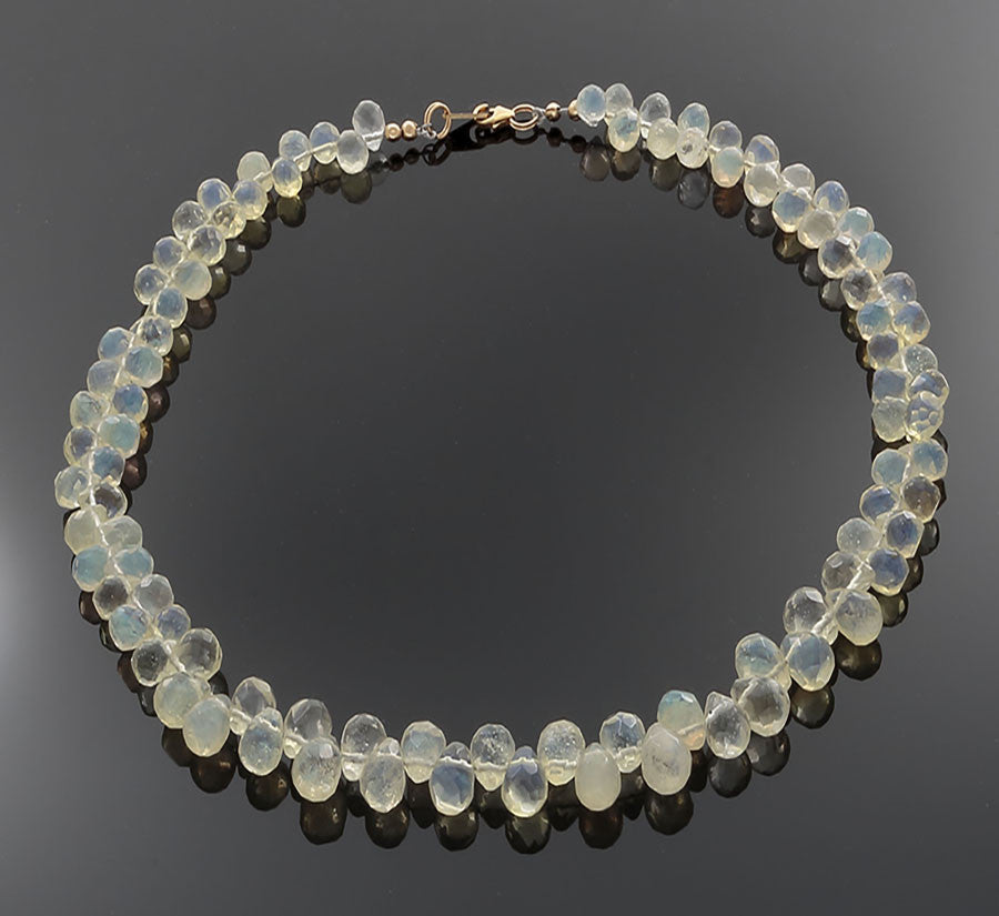 Lemon Quartz Briolli beads with gold-filled clasped Necklace - Finesse Jewelry