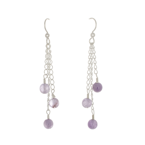 Light Amethyst 3-Bead Earrings on Sterling Silver Chain - Finesse Jewelry