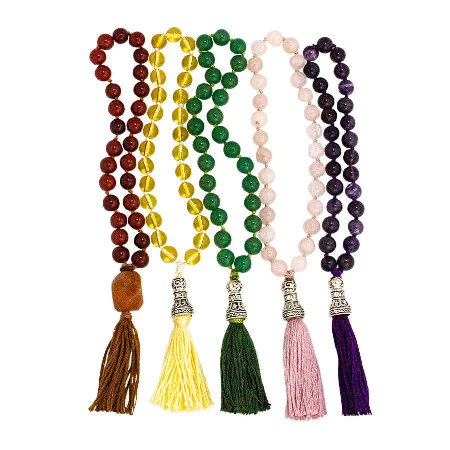 Mala 27-Bead Hand-Knotted in either: Amethyst, Carnelian, Rose Quartz, Green Aventurine, Citrine