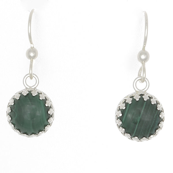Malachite Earrings bezel set in Sterling silver on French Ear Wires - Finesse Jewelry