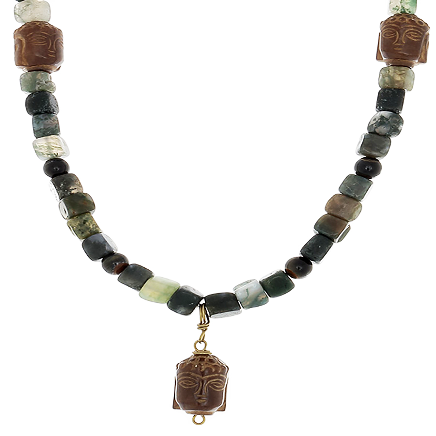 Moss Agate, Blue Tiger's Eye & Budha head Necklace - Finesse Jewelry