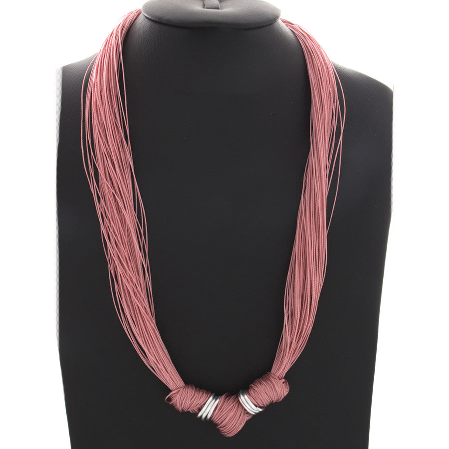 Multi-Strand Knotted Grace necklace - Rose
