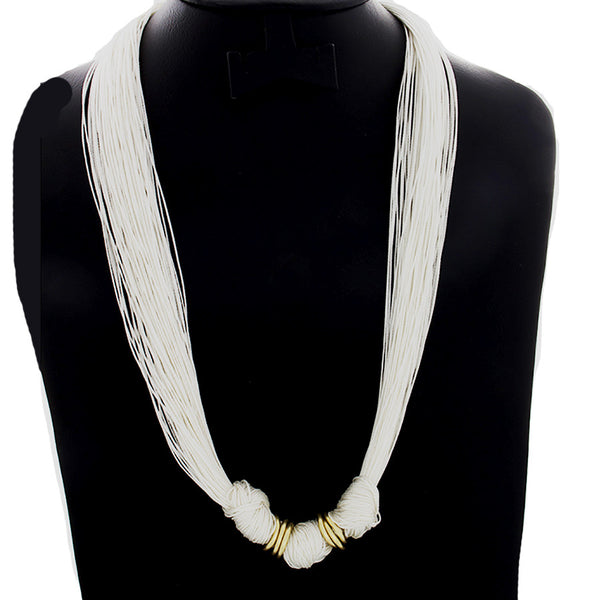 Multi-Strand Knotted Grace Necklace - White - Finesse Jewelry