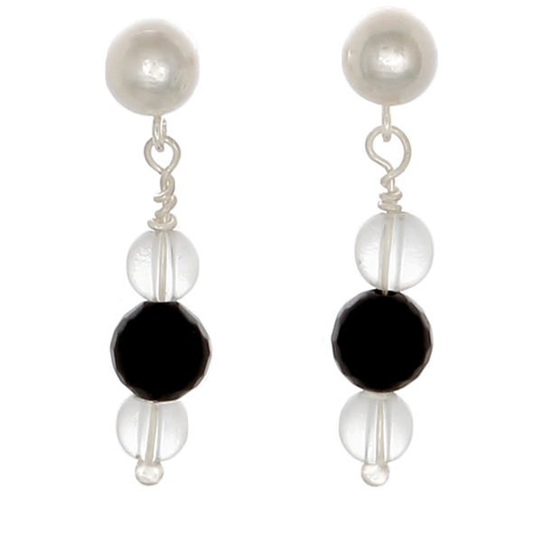 Obsidian and Clear Quartz drop earrings on Sterling Posts - Finesse Jewelry