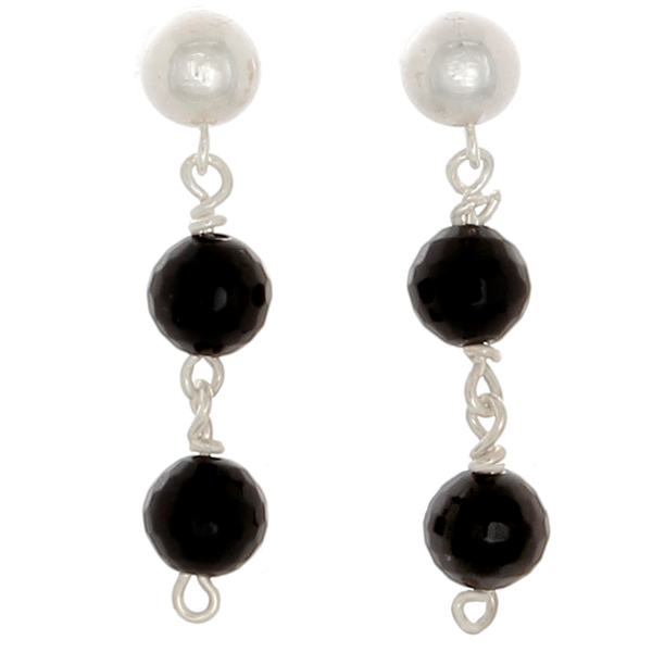Obsidian Faceted bead drop Post Earrings - Finesse Jewelry