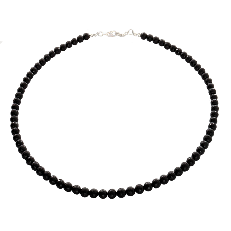 Obsidian faceted beaded necklace with Sterling Silver clasp - Finesse Jewelry